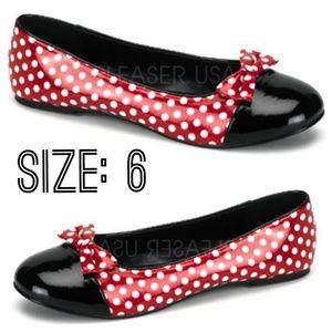 Shoes - Polka Dot Pin Up Shoes Ballet Flats Vintage Girl 6